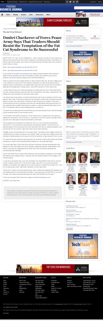 Dmitri Chavkerov Business Journal of Phoenix news story on long term trading success