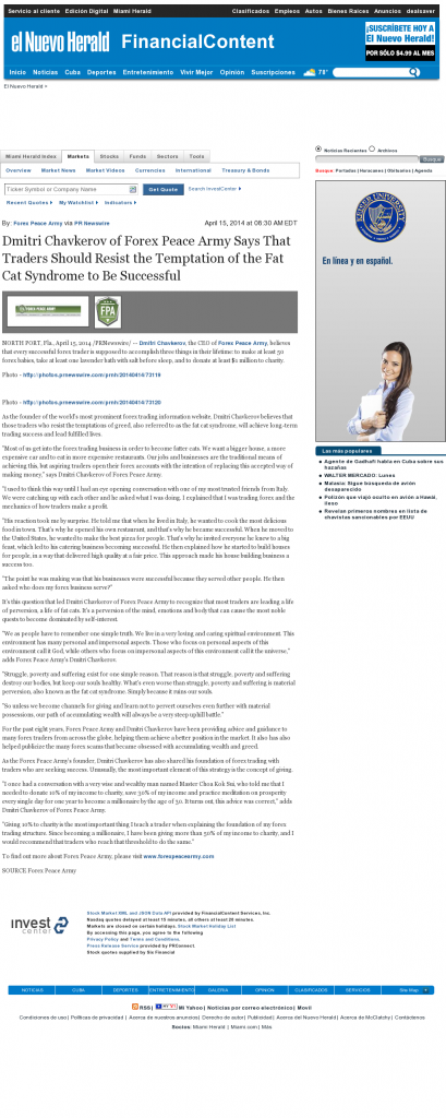 Dmitri Chavkerov El Nuevo Herald (Miami, FL) news story on long term trading success