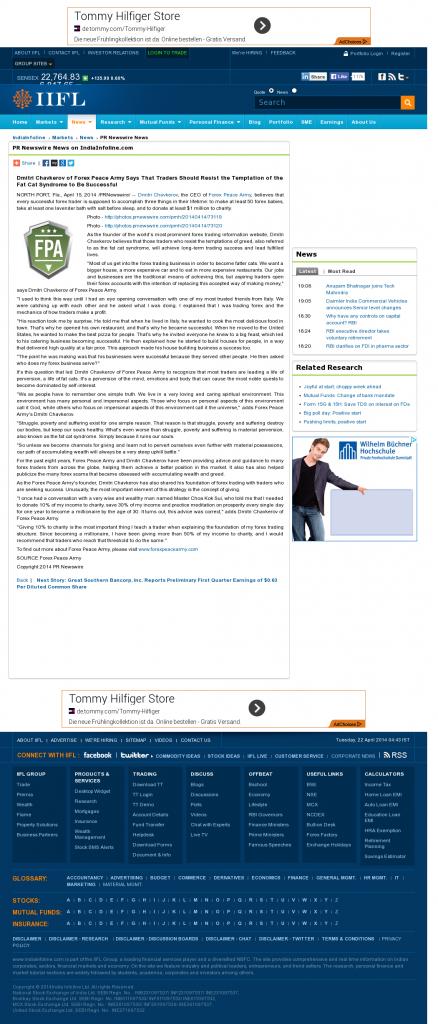 Dmitri Chavkerov India Infoline news story on long term trading success