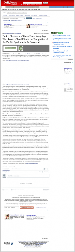 Dmitri Chavkerov Los Angeles Daily News (Woodland Hills, CA) news story on long term trading success