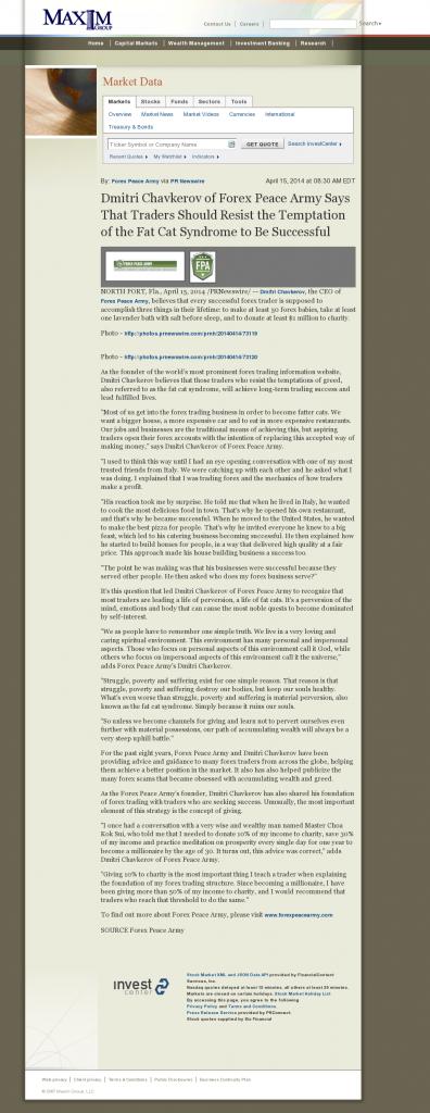 Dmitri Chavkerov Maxim Group news story on long term trading success