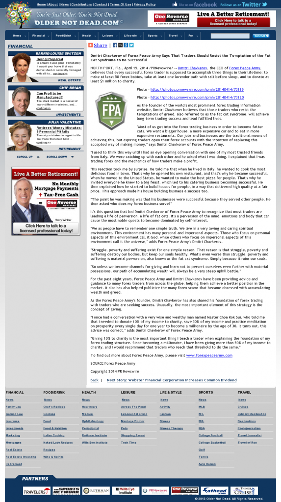 Dmitri Chavkerov Older Not Dead.com news story on long term trading success