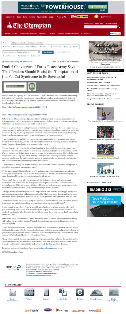 Dmitri Chavkerov Olympian (Olympia, WA) news story on long term trading success