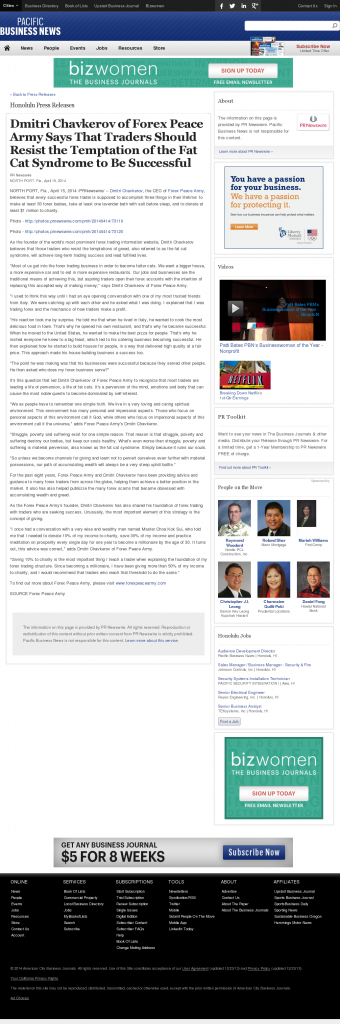 Dmitri Chavkerov Pacific Business News news story on long term trading success