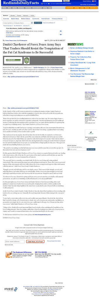 Dmitri Chavkerov Redlands Daily Facts (Redlands, CA) news story on long term trading success