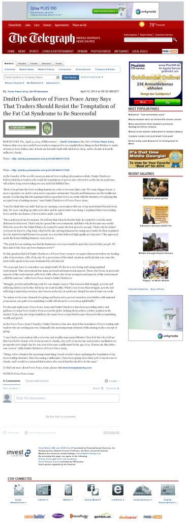 Dmitri Chavkerov Telegraph-Macon (Macon, GA) news story on long term trading success