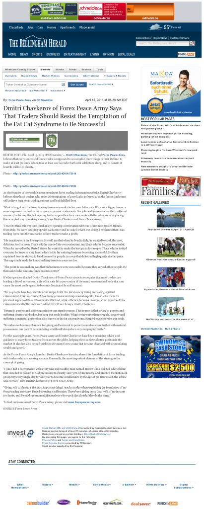 Dmitri Chavkerov The Bellingham Herald news story on long term trading success