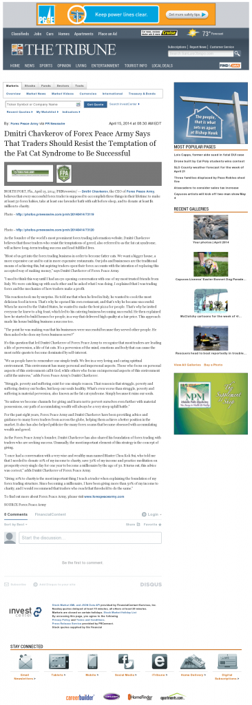 Dmitri Chavkerov Tribune (San Luis Obispo, CA) news story on long term trading success