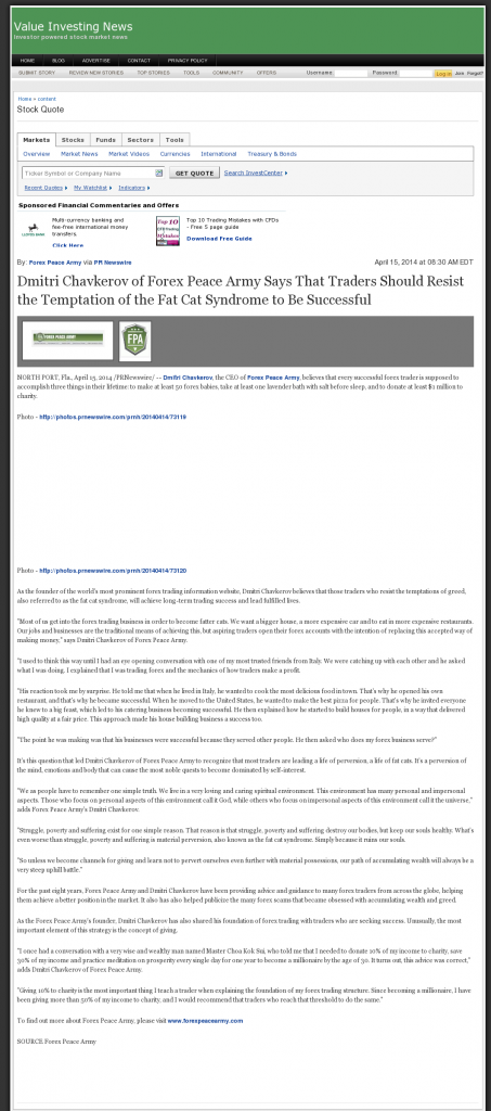 Dmitri Chavkerov Value Investing News news story on long term trading success