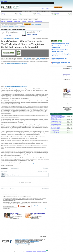 Dmitri Chavkerov Wall Street Select news story on long term trading success