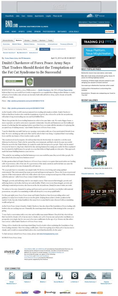 Dmitri Chavkerov Belleville News-Democrat news story on long term trading success
