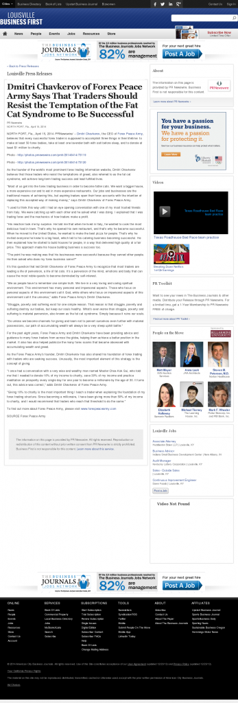 Dmitri Chavkerov Business First of Louisville news story on long term trading success