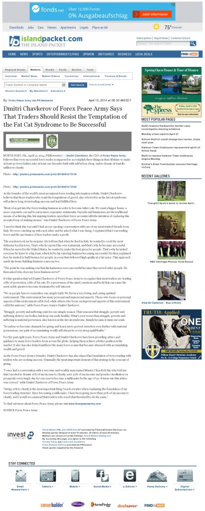 Dmitri Chavkerov Island Packet (Bluffton, SC) news story on long term trading success