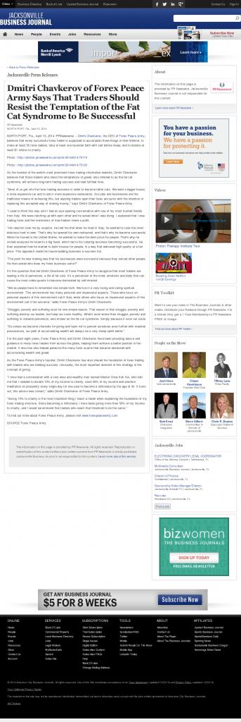 Dmitri Chavkerov Jacksonville Business Journal news story on long term trading success