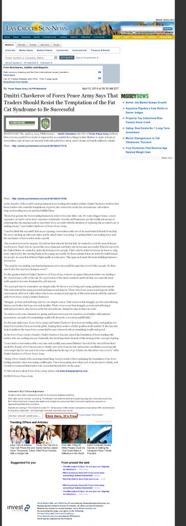 Dmitri Chavkerov Las Cruces Sun-News news story on long term trading success