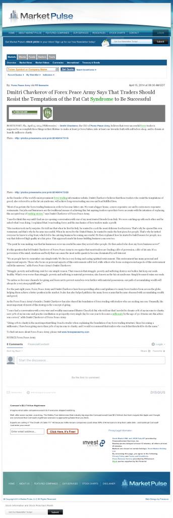 Dmitri Chavkerov Market Pulse news story on long term trading success