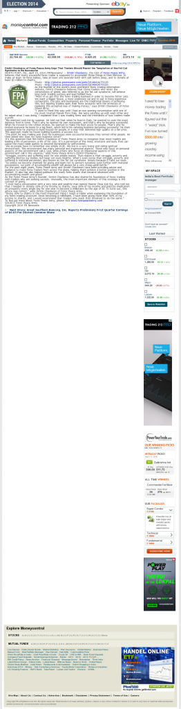 Dmitri Chavkerov Money Control (India) news story on long term trading success