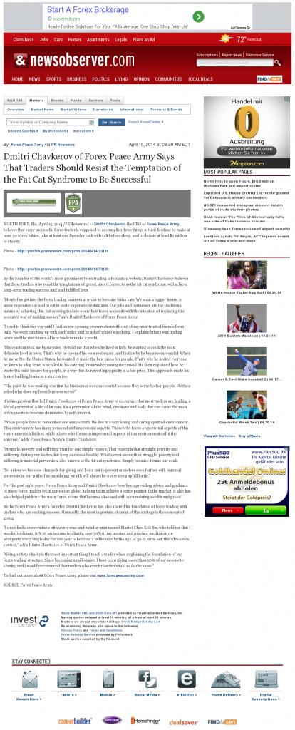 Dmitri Chavkerov News & Observer (Raleigh, NC) news story on long term trading success
