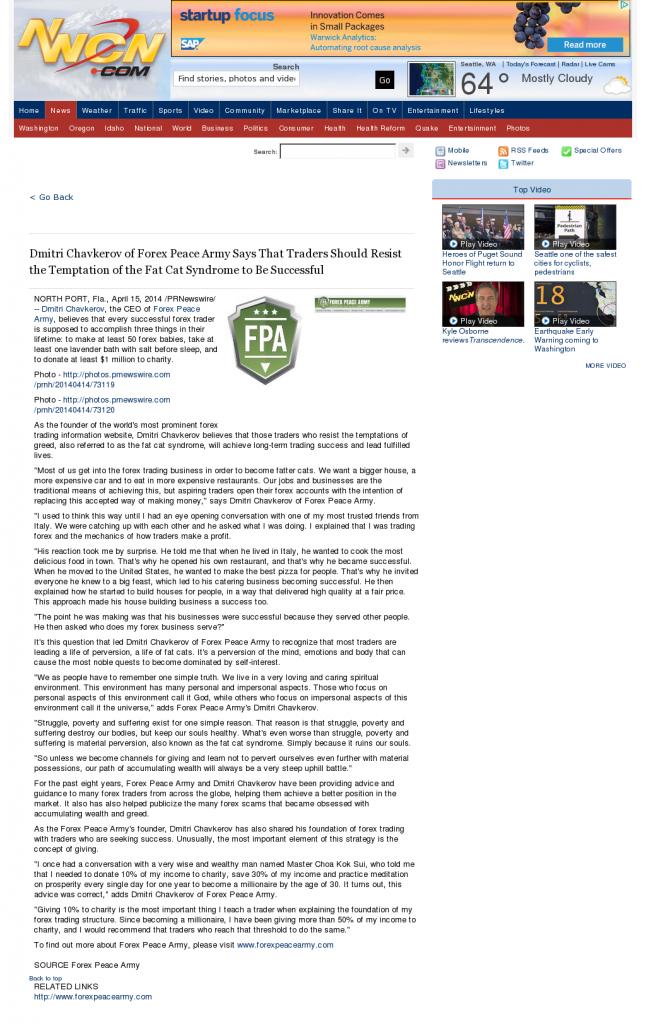 Dmitri Chavkerov NorthWest Cable News (Seattle, WA) news story on long term trading success