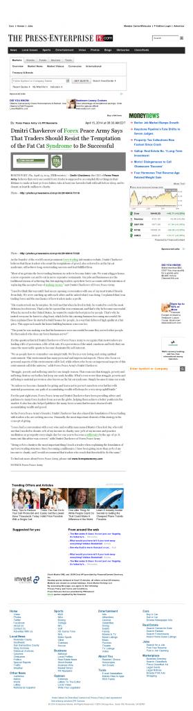 Dmitri Chavkerov Press-Enterprise news story on long term trading success