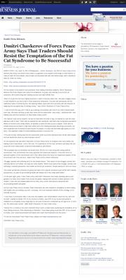 Dmitri Chavkerov  Puget Sound Business Journal  news story on long term trading success