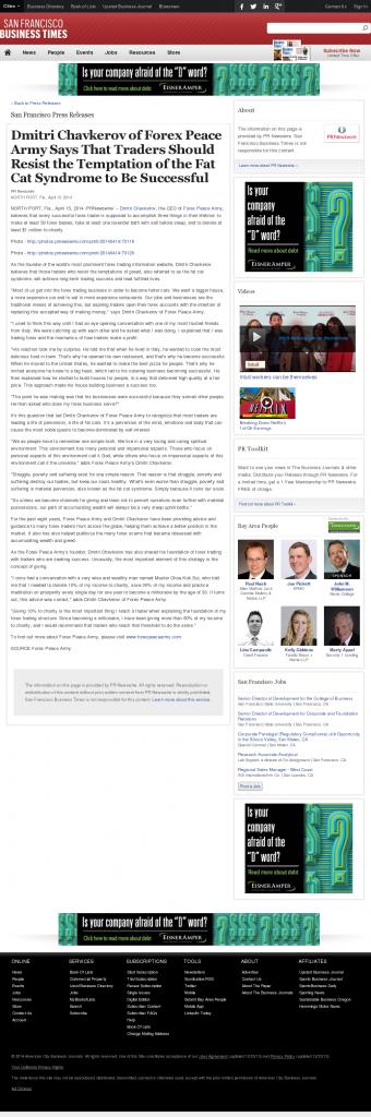Dmitri Chavkerov San Francisco Business Times news story on long term trading success