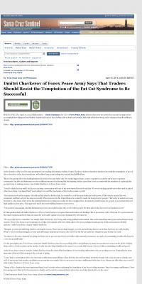 Dmitri Chavkerov  Santa Cruz Sentinel (Santa Cruz, CA)  news story on long term trading success