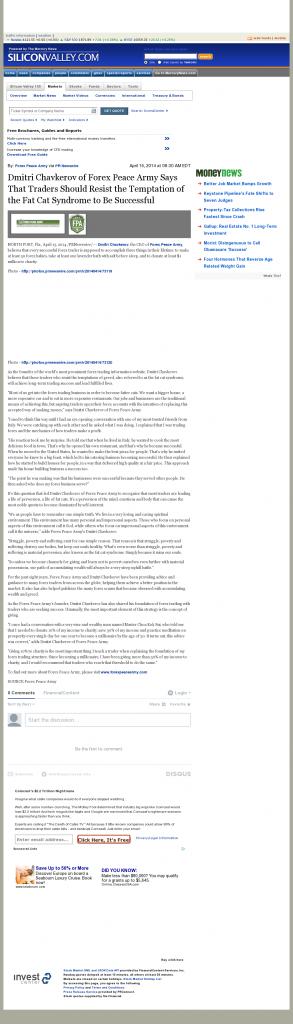 Dmitri Chavkerov SiliconValley.com (Silicon Valley, CA) news story on long term trading success