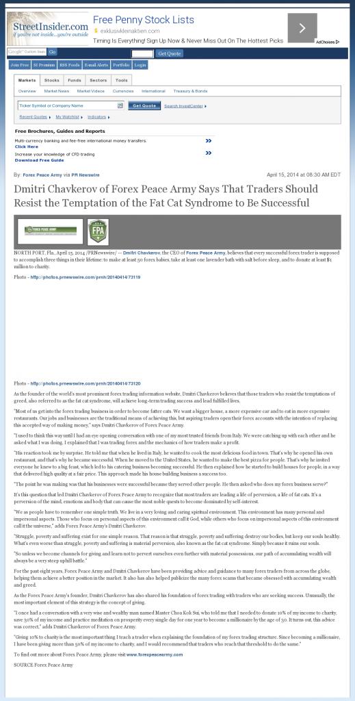 Dmitri Chavkerov Street Insider news story on long term trading success