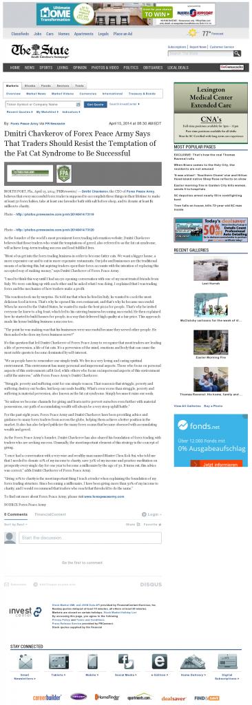 Dmitri Chavkerov The State (Columbia, SC) news story on long term trading success