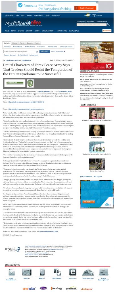Dmitri Chavkerov The Sun News (Myrtle Beach, SC) news story on long term trading success