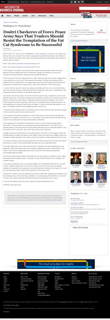 Dmitri Chavkerov Washington Business Journal news story on long term trading success