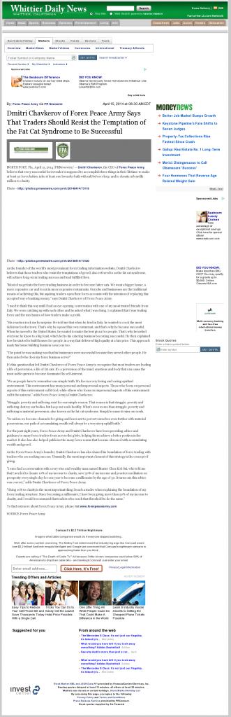 Dmitri Chavkerov Whittier Daily News (Whittier, CA) news story on long term trading success