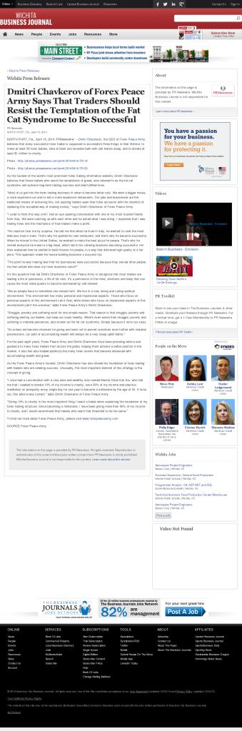 Dmitri Chavkerov Wichita Business Journal news story on long term trading success