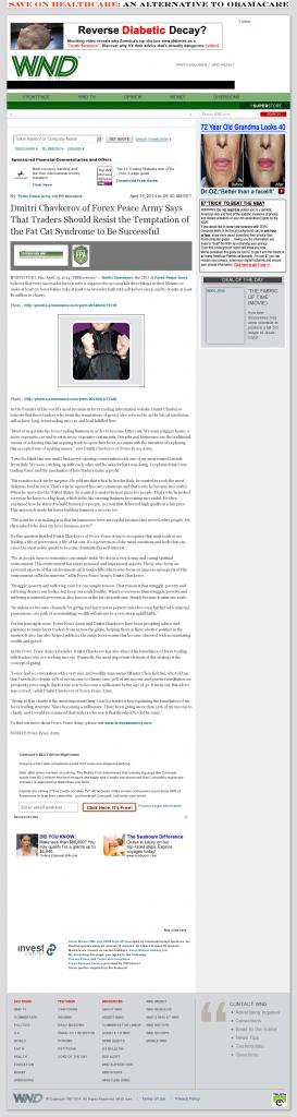 Dmitri Chavkerov WorldNetDaily news story on long term trading success