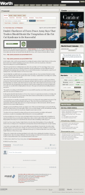 Dmitri Chavkerov  Worth  news story on long term trading success
