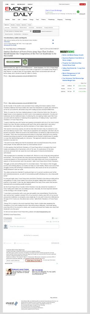Dmitri Chavkerov eMoneyDaily news story on long term trading success